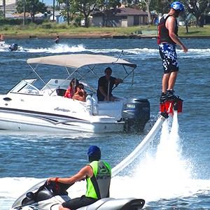 The Flyboard® is very intuitive : it's like learning to walk. Find your balance and you will become a Flying Man or Dolphin Man! It will take around 10 minutes to learn with an instructor. Then you will be able to take off from water and enjoy your Flyboard® for hours!